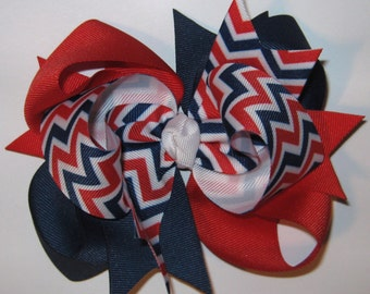 Boutique Hair Bow LARGE Triple Loop Grosgrain in Red, White, and Dark Royal Blue Chevron Print Patriotic July 4th Independence Day Hairbow