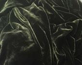 DARK OLIVE GREEN Silk Velvet Fabric - 1 Yard