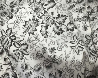 Black and White Floral Silk SHANTUNG Fabric 1 Yard