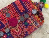 VINTAGE Bohemian gypsy Banjara clutch bag >> orange & purple