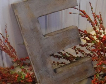 E is for Excellent ~~ Letter E  in Distressed  Shade of Grey ~ ~ Cottage Decor ~~ Primitive