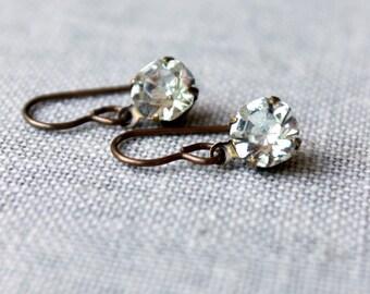 Crystal Clear Rhinestone Earrings / Dainty Crystal Wedding Earrings / Vintage Glass Wedding Jewelry / Clear Crystal Brass Bridal Earrings