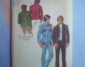 Vintage 70s Mens Jacket & Bellbottoms Uncut Pattern 38