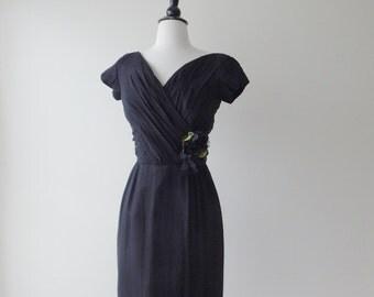Sale Mood indigo dress | vintage 1950s dress | black chiffon 50s dress