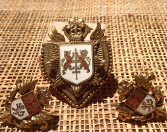 Vintage crown and shield pin and earring set