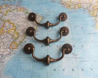 SALE! 3 vintage curvy dark brass metal bail pull handles w/rosettes