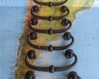 SALE! 6 vintage dark brass metal pull handles w/round rosettes