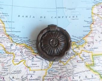 SALE! Vintage round ornate metal pull handle
