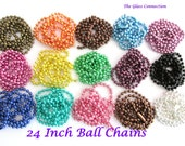 15 Colored Ball Chains Necklaces 2.4mm 24 inches Green Blue Pink Purple 2.4mm