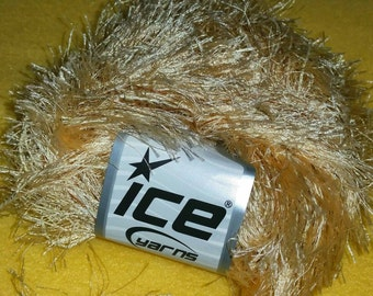 Brown and Pale Gold Multi-strand Eyelash Yarn by Ice Yarns - two skeins