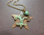 Star Necklace, Fleur de Lis Necklace, Verdigris, Rustic, Mosaic Turquoise, Charm Necklace, Wish Upon A Star, Brass Star, Unique Gift, Teen