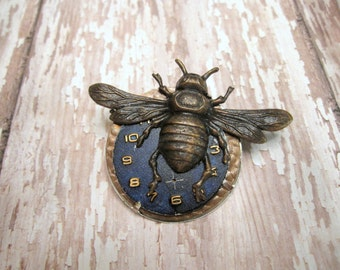 Steampunk Bee Pin, Steampunk Brooch, Woodland Pin, Insect, Bug, Wing, Watch Part, Sweater Pin, Noir, Lapel Pin, Vintage Watch Face, Upcycled