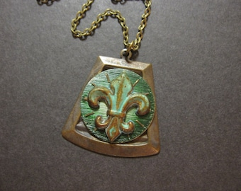 OOAK Fleur de Lis , One of a Kind, Steampunk Necklace, Vintage Watch Face, Verdigris, Green, Cosplay Jewelry, Unique Steampunk, Rustic, Noir
