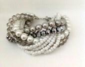 Chunky Pearl Bracelet, Wedding Pearl, Bridal Pearl Bracelet, Silver Glass Pearl Bracelet  , Weddings, bridal pearls,Handmade Pearl Bracelet