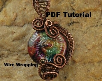 Wire Wrapping Tutorial, Wire Wrapped Pendant, Wire Tutorial, Pendant, Lesson, PDF File, Ammonite,T125 by CC Design