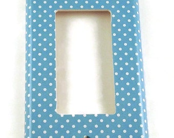 Rocker Switchplates Light Switch Cover Wall Decor  Single Switch Plate in Blueberry Dot (246R)