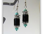 Black Onyx Earrings, Kingman Turquoise, Dangle Earrings,  Sterling Silver French Style Ear wires, Jewelry Accessories, Chunky Earrings, 1071
