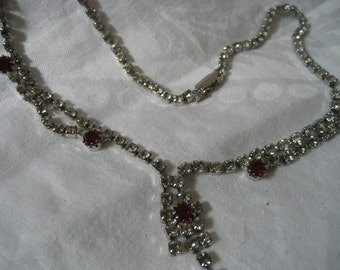 VINTAGE Ruby Red & Rhinestone Costume Jewelry Necklace