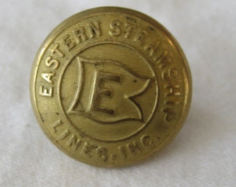 ANTIQUE Gold Metal Eastern Steamship Uniform BUTTON
