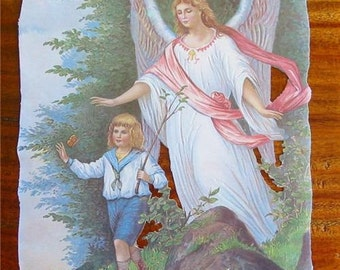 New German Victorian Scrap Guardian Angel with Boy