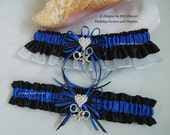 Sheriff wedding Garters Thin Blue Line Handmade Black Royal Blue and White Garters