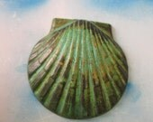 Verdigris Patina Large Shell Charms 200VER x1