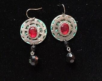Steampunk Goth Industrial Gears and Crystal drop earrings