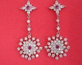 Cubic Zirconia Ruby 14K White Gold Plated Earrings, Bridesmaid, Wedding Gift Bridal Earrings