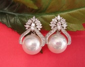Freshwater Pearl   Cubic Zirconia 14K White Gold Plated Earrings, Bridesmaid, Wedding Gift Bridal Earrings