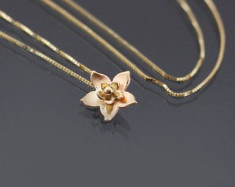 Teeny Tiny 14k Gold Blossom Necklace