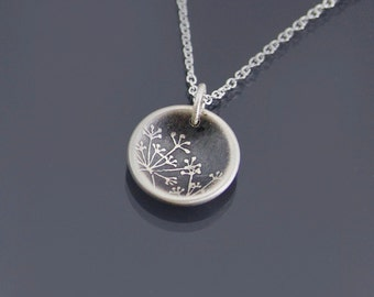Tiny Cupped Sterling Silver Queen Anne's Lace Necklace