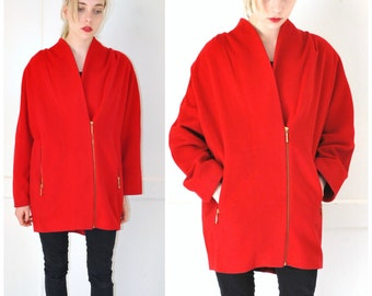 AVANT GARDE red CASHMERE wool coat 80s vintage cocoon dropped sleeve batwing coat