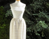 RESERVED for Ewa - White Party Dress Simple Asymmetric Neckline Vintage 60s Metallic Gold Lace Accents - XS
