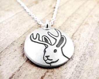 Silver jackalope necklace, handmade jackalope jewelry, jack a lope necklace, mythical creature, mythic animal