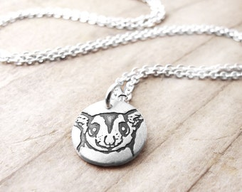 Tiny Sugar Glider necklace, Silver Sugar Glider jewelry