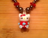 Glass cat beaded chain necklace