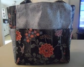 oriental flowers black blue bag/purse/ diaper bag
