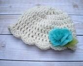 Baby Crochet Hat, Newborn Girl Beanie, Baby Hat with Flower, Coming Home Hat, Newborn Hat, Infant Hat, Baby Beanie, Baby Flower Hat, Aqua