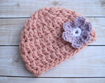 Baby Girl Beanie with Flower, Newborn Crochet Hat, Coming Home Hat, Crochet Baby Hat, Hat for Baby Girl, Baby Flower Hat, Pink, Purple