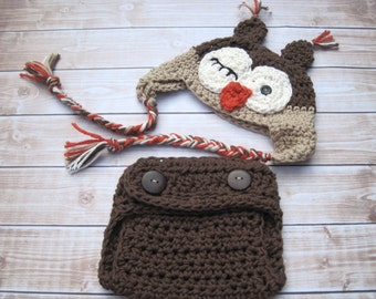 Crochet Baby Hat and Diaper Cover, Baby Owl Hat, Baby Boy Cothing, Newborn owl Hat, Infant Owl Hat, Baby Boy Hat, Halloween Costume, Brown