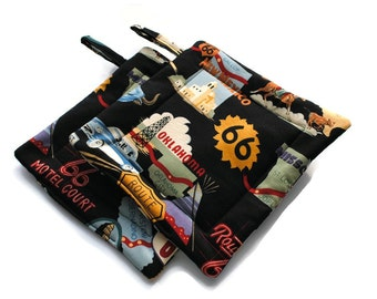 Quilted Pot Holders Route 66 set of 2 Black