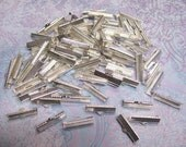 10 Textured Silver Tone Ribbon Clamp Clasps Crimp End Clasps with Loop 25mm
