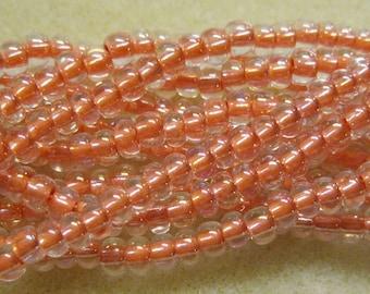 6/0 Pretty Peach Ceylon Czech Glass Seed Beads