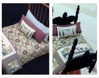 1/12 scale dollhouse bedding Katie Arthur miniature quilt