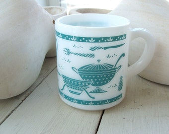 Vintage Milk Glass Coffee Cup Mug with mid century modern turquoise kitchen motif