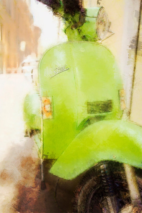 Green Star Scooter  Archival Print
