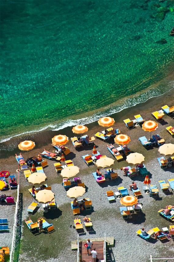 Yellow Umbrellas Amalfi  Archival Print