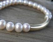 Modern Pearl Gold Bracelet