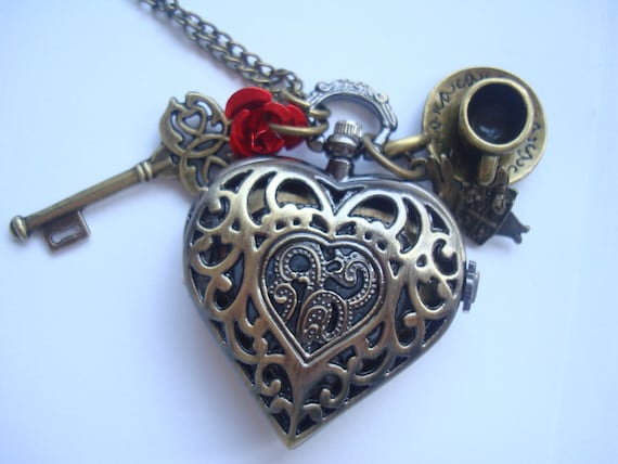 Alice in Wonderland Heart Drink Me Pocket Watch Necklace