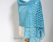 Lace crochet shawl, Blue, Aqua, Turquoise Cotton,  N334